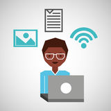 Guy white glasses using laptop photo file wifi. Vector illustration eps 10 Stock Image