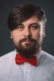 Guy in a white shirt with red tie bow Royalty Free Stock Photo