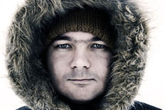 Guy in winter hood Royalty Free Stock Photography