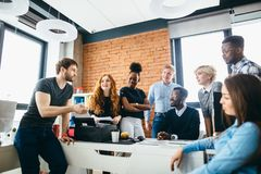 Free Guy With Beard And Moustache Motivating Workers To Start Up Risky Business Stock Image - 115240291