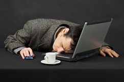 Guy worked at night in Internet has fallen asleep Stock Photos