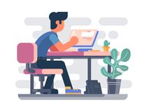Guy working at computer. Freelancer makes web project. Vector ilustration Royalty Free Stock Photography