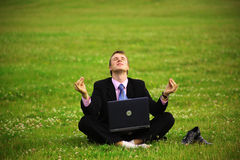 Guy is working outdoors Stock Photography