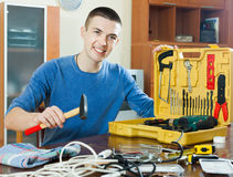 Guy  with working tools Royalty Free Stock Photos