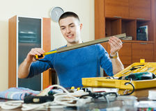 Guy with working tools Royalty Free Stock Images