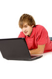 The guy works for laptop Stock Photography