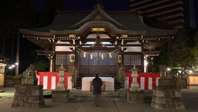 A guy worships at a shinto shrine early in the morning. Tokyo,Japan-January 6, 2018: A guy worships at a shrine early in the morning. Bow two times, clap hands stock video