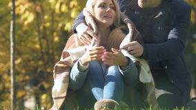 Guy wrapping girlfriend with blanket in park, cold autumn day, caring relations. Stock footage stock video footage