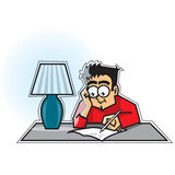Guy writing a letter. On a table lamp Stock Images