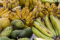 Guyabano and banana on market in Galle, Sri Lanka Royalty Free Stock Image