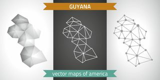 Guyana collection of vector design modern maps, gray and black and silver dot contour mosaic 3d map. Set of Guyana polygonal mosaic modern maps Stock Photos