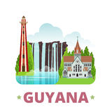 Guyana country design template Flat cartoon style Stock Images