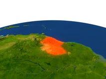 Guyana en rojo de la órbita stock de ilustración