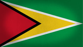 Guyana flag. Composed by two triangles, one in red and another in yellow with a thin line in white at his sides. all over a green back, fabric texture Royalty Free Stock Photography