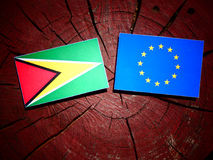 Guyana flag with EU flag on a tree stump isolated. Guyana flag with EU flag on a tree stump Stock Photos
