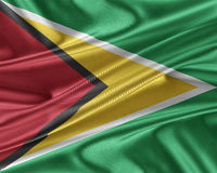 Guyana flag with a glossy silk texture. Stock Images