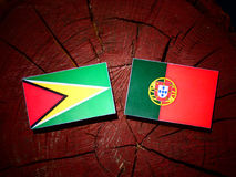 Guyana flag with Portuguese flag on a tree stump isolated. Guyana flag with Portuguese flag on a tree stump vector illustration