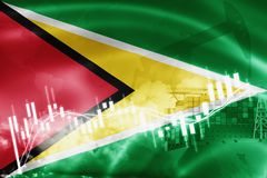 Guyana flag, stock market, exchange economy and Trade, oil production, container ship in export and import business and logistics. South, america, background royalty free illustration