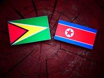 Guyana flaga z koreańczyk z korei północnej flaga na drzewnym fiszorku Fotografia Stock