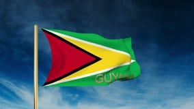 Guyana-Flaggenschieberart mit Titel Wellenartig bewegen in stock video footage