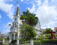 Guyana, Georgetown: City Hall. Georgetown City Hall is a nineteenth-century Gothic Revival building located on the corner of Regent Street and Avenue of the royalty free stock image