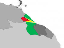 Guyana on globe with flag Royalty Free Stock Images
