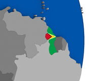 Guyana on globe with flag Royalty Free Stock Photography