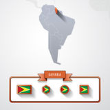 Guyana info card. Guyana on the map of South America with flags Stock Images
