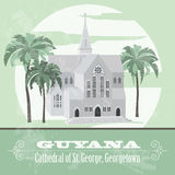 Guyana  landmarks. Retro styled image.  Cathedral of St. George, Stock Photo