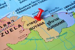 Guyana map. Macro shot of guyana map with push pin Stock Photos