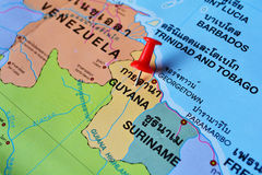 Guyana map. Macro shot of guyana map with push pin Royalty Free Stock Image