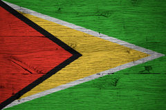 Guyana national flag painted old oak wood Royalty Free Stock Photos