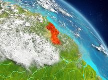 Guyana from orbit. Illustration of Guyana as seen from Earth's orbit. 3D illustration. Elements of this image furnished by NASA Stock Photo