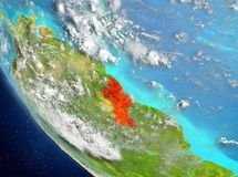 Satellite view of Guyana in red. Guyana from orbit of planet Earth with highly detailed surface textures. 3D illustration. Elements of this image furnished by Stock Image