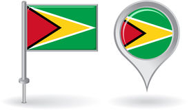 Guyana pin icon and map pointer flag. Vector Royalty Free Stock Photos