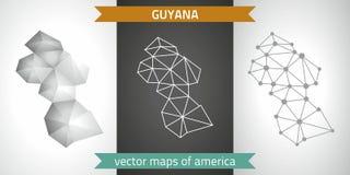 Guyana-Sammlung der modernen Karten-, Grauer und Schwarzer und silbernerdes punktkonturn-Mosaiks 3d Karte des Vektordesigns Stockfotos