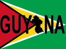 Guyana text with map Royalty Free Stock Images