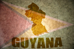 Guyana vintage  map. Guyana map on a vintage guyanese flag background Stock Photo