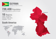 Guyana world map polygon with a diamond pattern. World geography population Royalty Free Stock Photos
