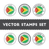 Guyanese flag rubber stamps set. Royalty Free Stock Images