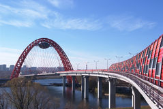 Guyed bridge in Moscow Stock Images
