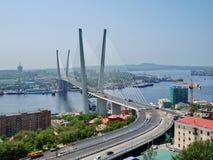 Guyed bridge in the Vladivostok Royalty Free Stock Image