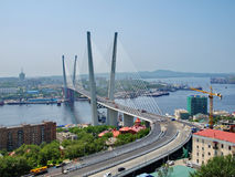 Guyed bridge in the Vladivostok over the Golden Horn bay Royalty Free Stock Photography