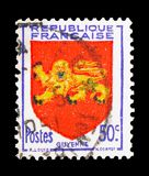 Guyenne, Coat of Arms serie, circa 1949. MOSCOW, RUSSIA - FEBRUARY 10, 2019: A stamp printed in France shows Guyenne, Coat of Arms serie, circa 1949 royalty free stock photography