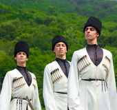 Guys in Adyghe national costumes Royalty Free Stock Images