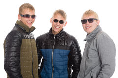 Guys in autumn jacket and sunglasses Royalty Free Stock Photos