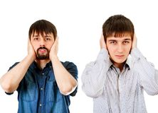 Guys close the Ears. Two Guys Cover the Ears on the White Background stock images