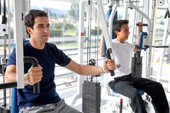 Guys doing exercises Stock Image