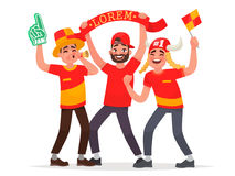 Guys fans cheer for their soccer team. Vector illustration Royalty Free Stock Images
