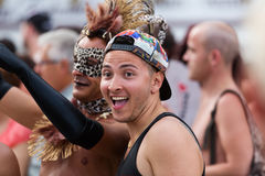 Guys during  Gay pride parade in Sitges Royalty Free Stock Photography